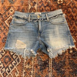 Frame denim le cutoff denim shorts 24 raw edge